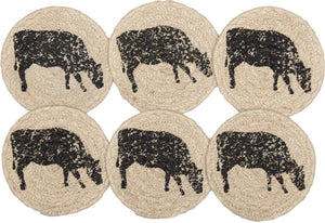 "Sawyer Mill Cow Braided Coaster 4"" - Set of 6"