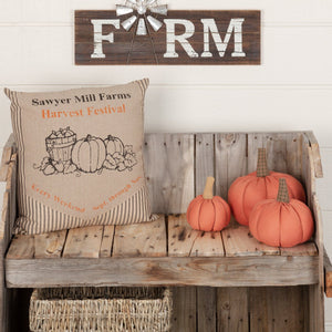 "Sawyer Mill Charcoal Harvest Festival Pillow 18"" Filled"
