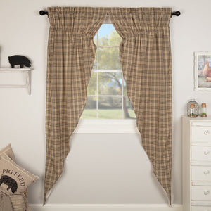 Sawyer Mill Charcoal Plaid Lined Long Prairie Curtains 84""