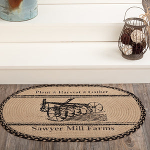 Sawyer Mill Charcoal Plow Oval Braided Rug 20x30""