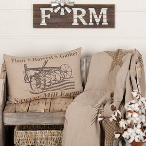 "Sawyer Mill Charcoal Plow Pillow 14x22"" Filled"
