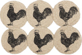 "Sawyer Mill Charcoal Poultry Braided Coaster 4"" - Set of 6 - Primitive Star Quilt Shop"