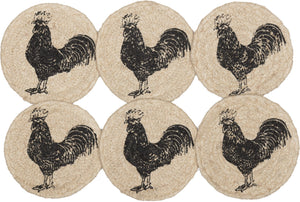 "Sawyer Mill Charcoal Poultry Braided Coaster 4"" - Set of 6"