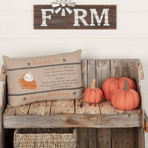 "Sawyer Mill Charcoal Pumpkin Pie Pillow 14x22"" Filled"