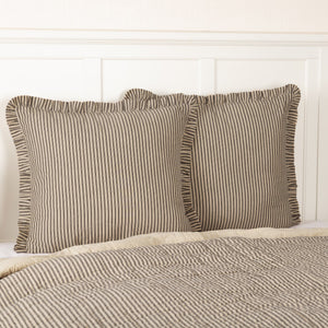 Sawyer Mill Charcoal Ticking Stripe Fabric Euro Sham 26x26""