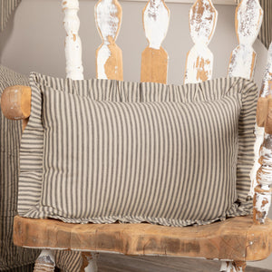 "Sawyer Mill Charcoal Ticking Stripe Fabric Pillow 14x22"" Filled"