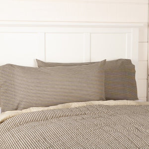 Sawyer Mill Charcoal Ticking Stripe King Pillow Case - Set of 2