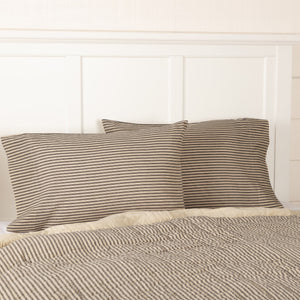 Sawyer Mill Charcoal Ticking Stripe Standard Pillow Case - Set of 2