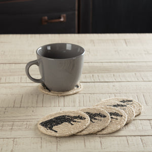 "Sawyer Mill Charcoal Cow Braided Coaster 4"" - Set of 6"