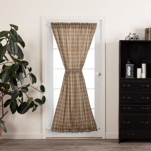 Sawyer Mill Charcoal Plaid Lined Door Panel Curtains 72""