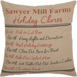 "Sawyer Mill Holiday Chores Pillow 18"" Filled - Primitive Star Quilt Shop"