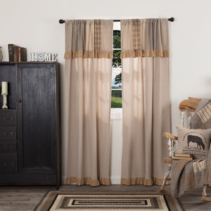 Sawyer Mill Charcoal Lined Panels with Attached Patchwork Valance 84""