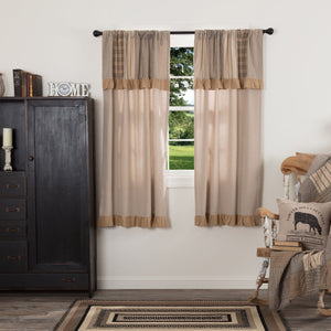 Sawyer Mill Charcoal Lined Short Panels with Attached Patchwork Valance 63""