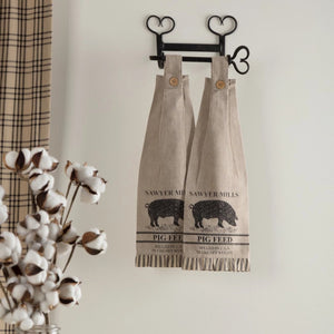 Sawyer Mill Charcoal Pig Button Loop Tea Towel - Set of 2