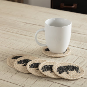 "Sawyer Mill Charcoal Pig Braided Coaster 4"" - Set of 6"
