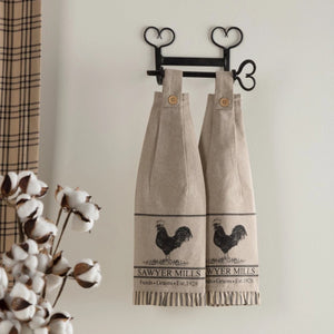 Sawyer Mill Charcoal Poultry Button Loop Tea Towel - Set of 2