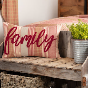 "Sawyer Mill Red Family Pillow 14x22"" Filled"