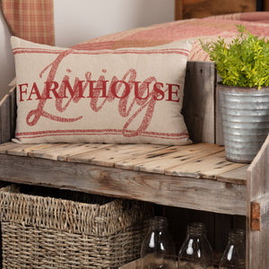 "Sawyer Mill Red Farmhouse Living Pillow 14x22"" Filled"