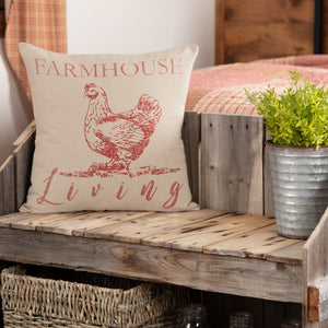 "Sawyer Mill Red Farmhouse Living Pillow 18"" Filled"