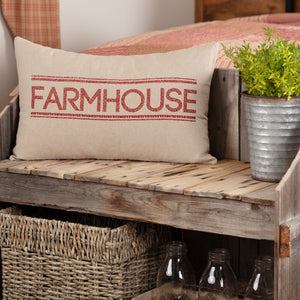 "Sawyer Mill Red Farmhouse Pillow 14x22"" Filled"