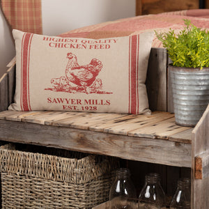 "Sawyer Mill Red Hen and Chicks Pillow 14x22"" Filled"
