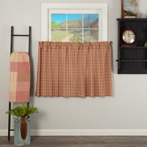 Sawyer Mill Red Plaid Lined Tier Curtains 36""
