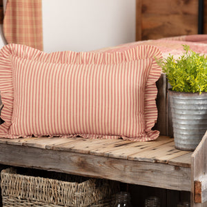 "Sawyer Mill Red Ticking Stripe Fabric Pillow 14x22"" Filled"