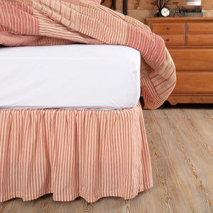 Sawyer Mill Red Ticking Stripe Bed Skirt