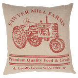 "Sawyer Mill Red Tractor Pillow 18"" Filled - Primitive Star Quilt Shop"