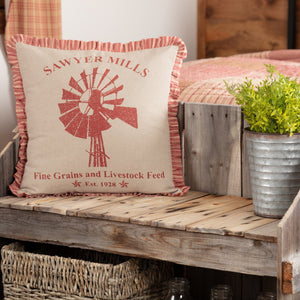 "Sawyer Mill Red Windmill Pillow 18"" Filled"