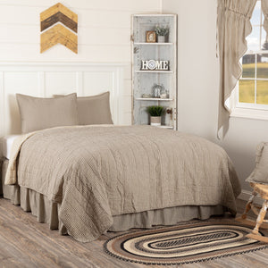 Sawyer Mill Charcoal Ticking Stripe Quilted Coverlet