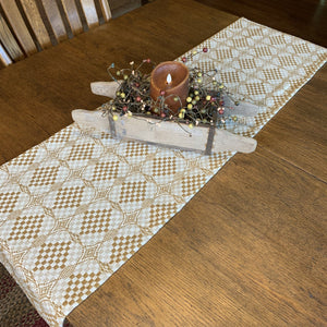 Shadowbrook Mustard and Creme Woven Table Runner 56""