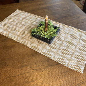 Shadowbrook Mustard and Creme Woven Table Runner 32""