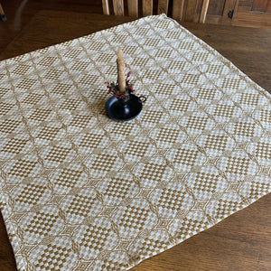 Shadowbrook Mustard and Creme Woven Small Table Cloth 34""