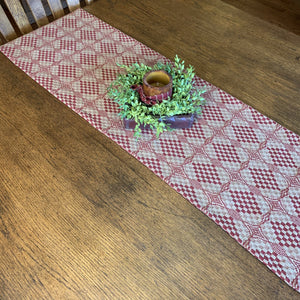 Shadowbrook Cranberry and Tan Woven Table Runner 56""