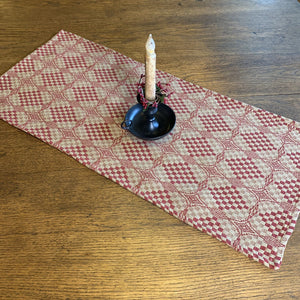 Shadowbrook Cranberry and Tan Woven Table Runner 32""