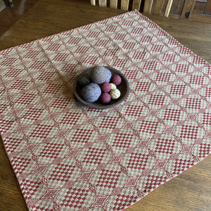 Shadowbrook Cranberry and Tan Woven Small Table Cloth 34""