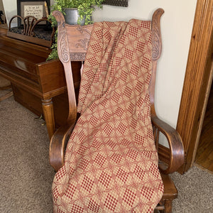 Shadowbrook Cranberry and Tan Woven Throw