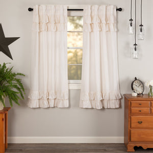 Simple Life Flax Antique White Ruffled Short Panel Curtains 63""