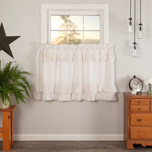 Simple Life Flax Antique White Ruffled Tier Curtains 36""