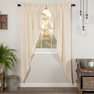 Simple Life Flax Natural Lined Long Prairie Curtains 84""