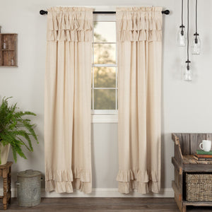 Simple Life Flax Natural Ruffled Panel Curtains 84""