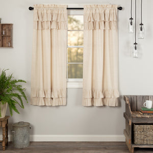 Simple Life Flax Natural Ruffled Short Panel Curtains 63""