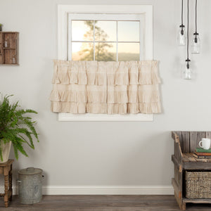 Simple Life Flax Natural Ruffled Tier Curtains 24""