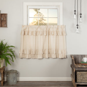Simple Life Flax Natural Ruffled Tier Curtains 36""