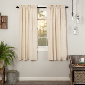 Simple Life Flax Natural Short Panel Curtains 63""