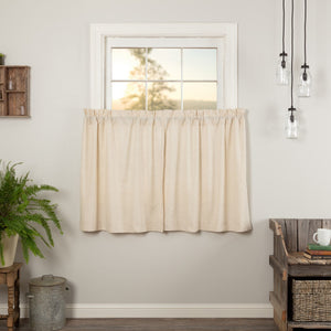 Simple Life Flax Natural Tier Curtains 36""