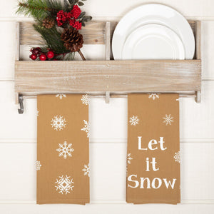 Snowflake Burlap Let It Snow Tea Towel - Set of 2
