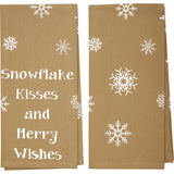 Snowflake Burlap Snowflake Kisses Tea Towel - Set of 2 - Primitive Star Quilt Shop