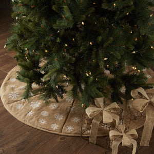 Snowflake Burlap Tree Skirt 55""